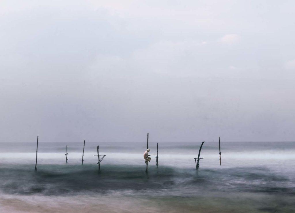 Tradičný spôsob rybolovu na Srí Lanke