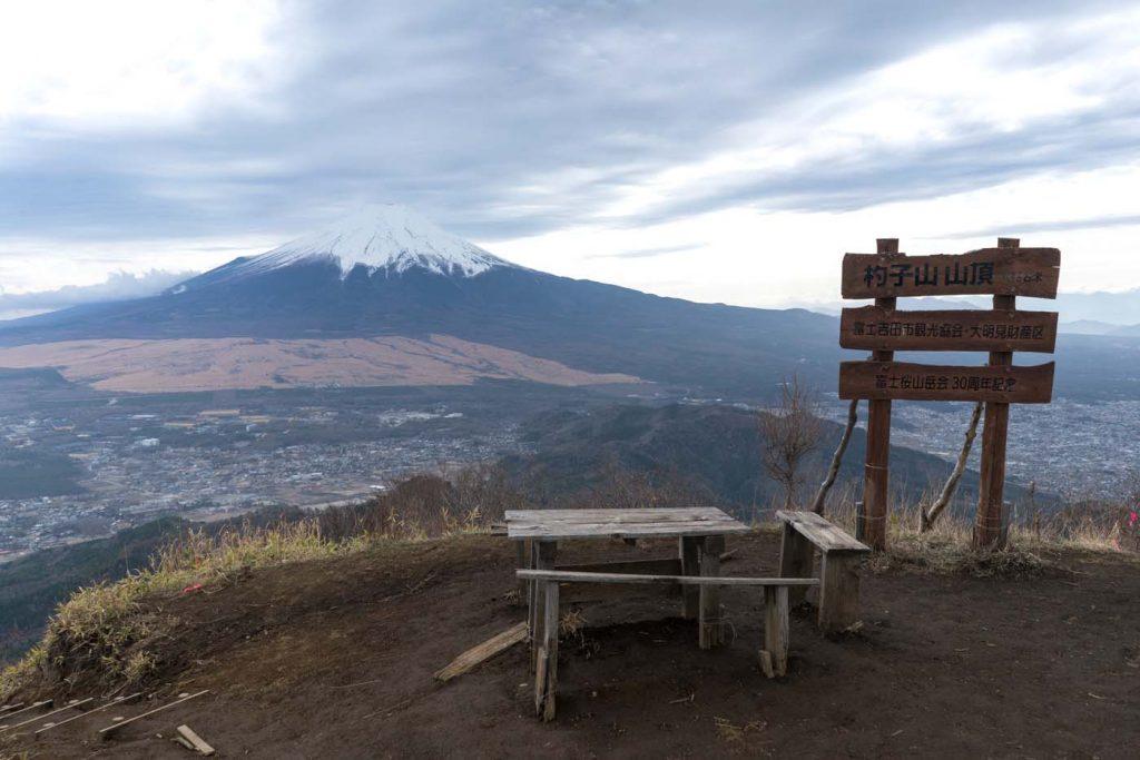 Hora Mt. Shakushi s výhľadom na Fuji