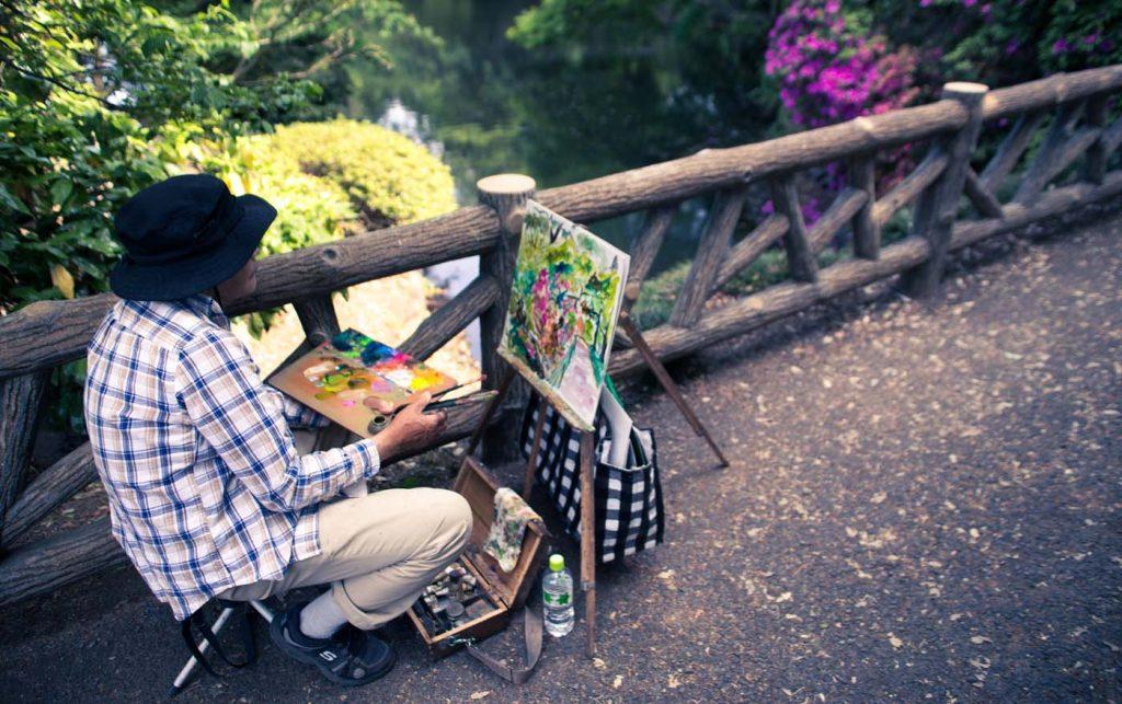 Umelec v japonskom parku