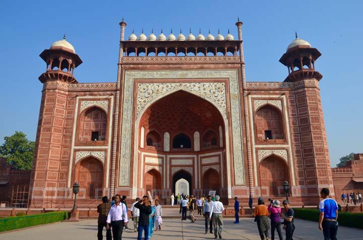 Detaily budovy Taj Mahal.