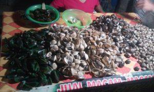 Pouličný trh s jedlom Alun-Alun Karimunjawa, ktorý je večer plný ľudí a môžete na ňom ochutnať cez deň rybármi ulovené ryby, kalamáre, mušle či sépiu.