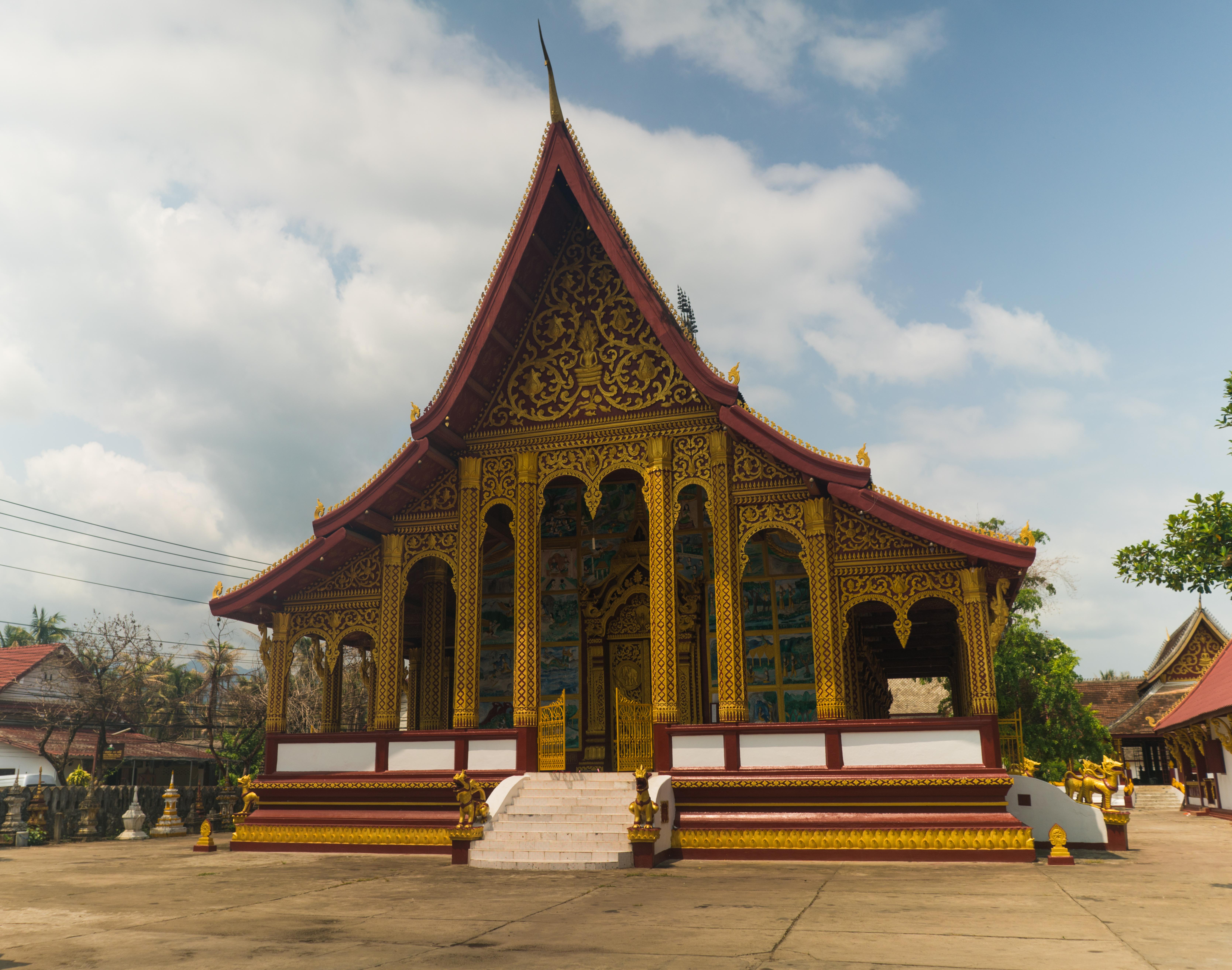 Historický drevený dom v Luang Prabang