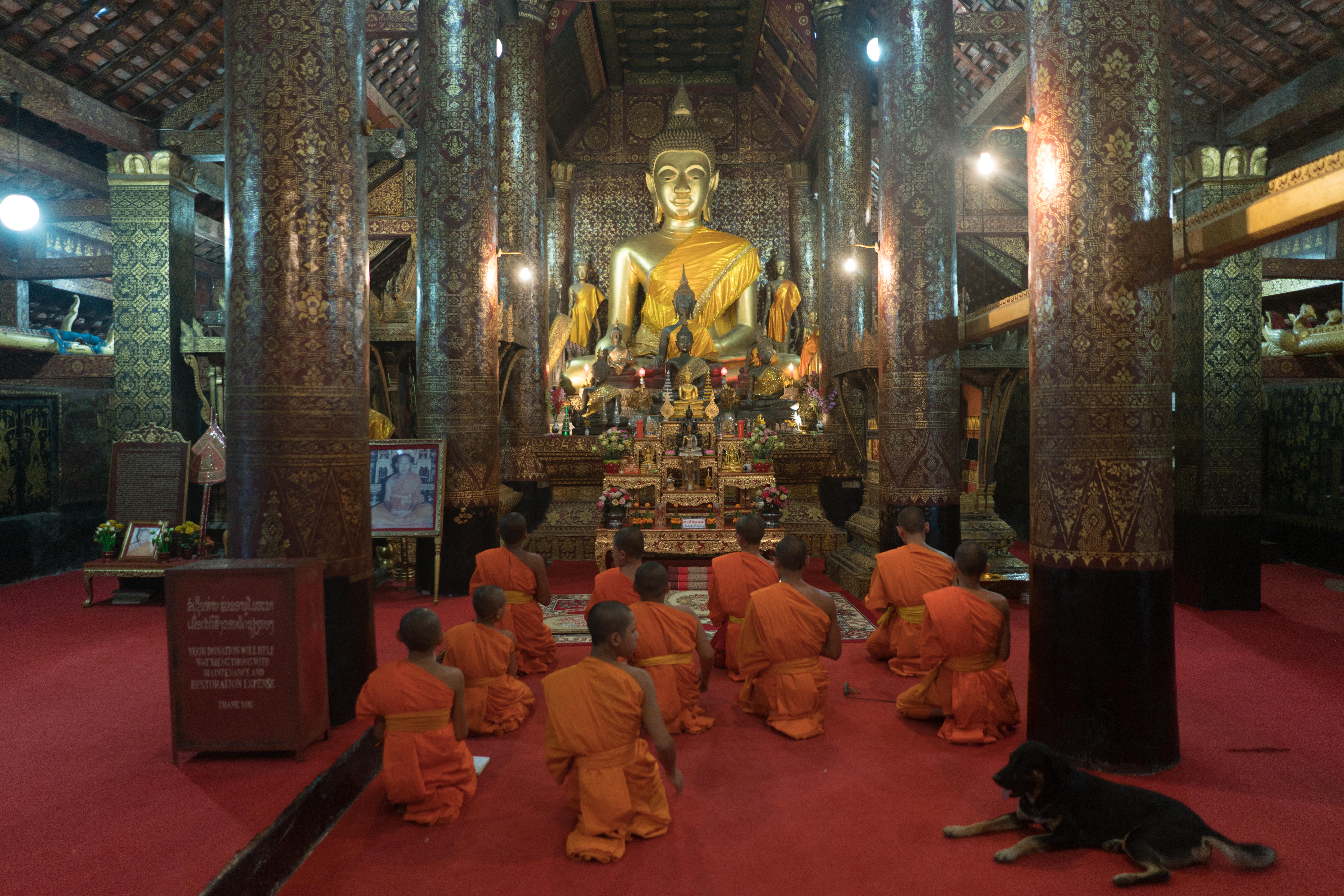 Modliaci mnísi v Luang Prabang