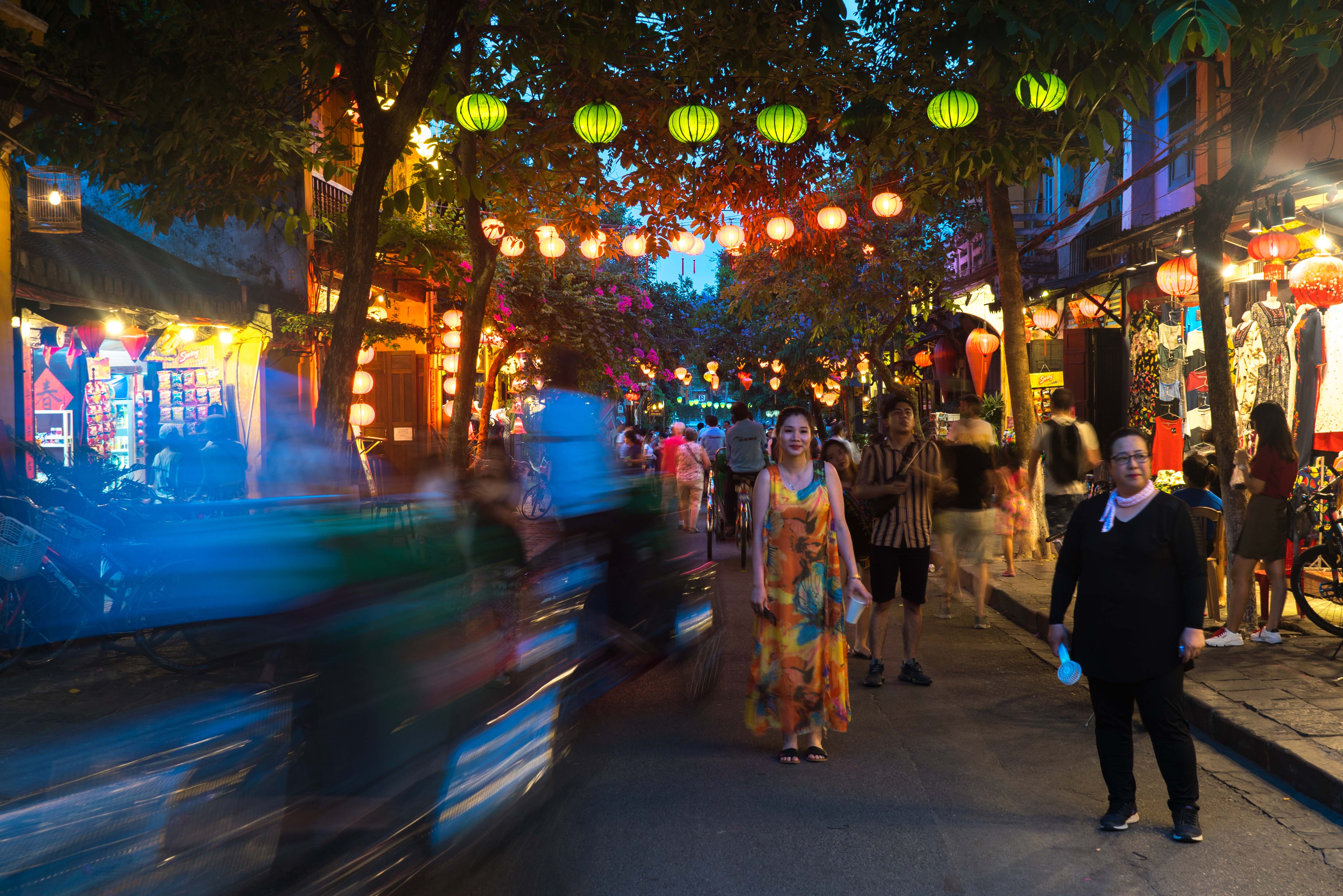 Lampióny v meste Hoi An